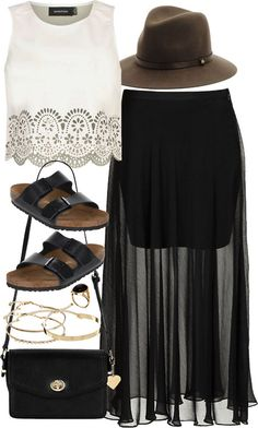 styleselection: outfit with a maxi skirt. by francesca-valentina-gagliardi featuring a fedora hat