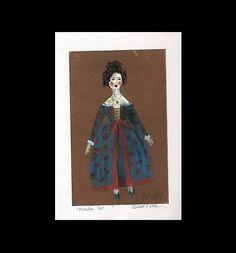 Wooden peg Doll blue dress= Signed ART PRINT = Cathy Peterson = LISTED ARTIST #MODERNIMPRESSIONISTEXPRESSIONISM