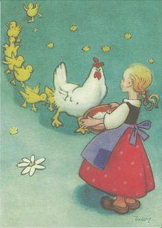 Vintage Children's Books, Vintage Postcards, Vintage Art, Pretty Drawings, Chicken Art, Drawing Practice, Children's Book Illustration, Whimsical Art, Bird Art