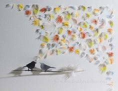 'Singing bird 9', Chris Maynard feather art.