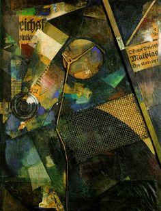 Merzschilderij 25A: Het sterrenschilderij ~ 1920 ~ Collage en olieverf op karton ~ 104,5 x 79 cm. ~ Kunstsammlung Nordrhein-Westfalen, Düsseldorf