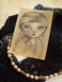 Original ACEO, Artist Trading Card, Pencil Drawing of 1920s inspired  Ziegfeld Girl, Flapper Girl, Zelda
