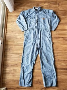 0bfbf43ac4a8 Vintage Big Mac Coveralls Mens 46R Mechanic Jumpsuit Blue Light Wash Used   fashion  clothing