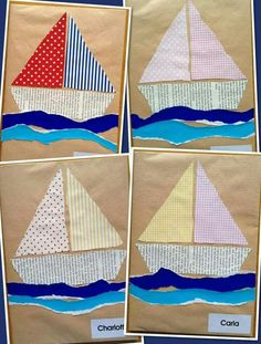 Bateaux pour couverture cahier would make a cute quilt Boat Crafts, Ocean Crafts, Summer Crafts For Kids, Art For Kids, Summer Art, Sailboat Craft, Transportation Crafts, Art N Craft, Preschool Crafts