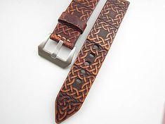 leon / Hnedý kožený remienok so vzorom II, 24mm