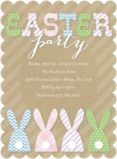 Easter Bunny Invitation Printable Or Printed With Free Shipping