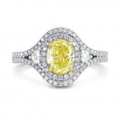 Fancy Light Yellow Oval Diamond Dress Ring, SKU 195132 (1.78Ct TW)