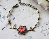 Swallow Birds Coral Red Mum, Ivory Cream Pearls Bracelet. Coral Flower Bracelet. Bridesmaids Gift. Antique Brass Swallow Birds. Flower Girl.
