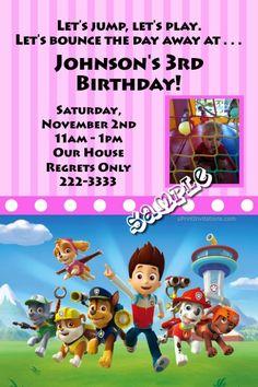 Custom Made Paw Patrol Birthday Girl Invitation by MyBabiesBreath