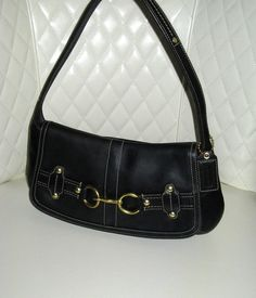 I'm auctioning 'COACH Ergo Belted Black Leather Flap Bag ' on #tophatter