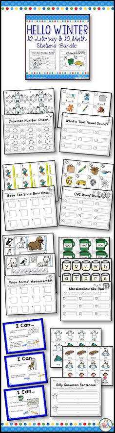 winter math and literacy center bundle.  Twenty centers for kindergarten.  Everything you need to keep your kindergarten kids busy during the winter months. From Ten Frames and Tally Marks to CVC's and Sight Words.