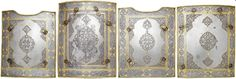 Another example of this armor, this one way more detailed. Persian char-aina, composite,  watered steel, comprising four rectangular plates, those at the sides with arched recesses for the arms, three etched with calligraphic panels at the borders and a central foliate cartouche, all enriched with gold koftgari, fitted with reinforced brass borders, and buckles for closure and suspension  11 1/2 in high      Inscribed with verses in Persian and  Arabic, 19th century.