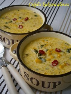Csípős kukoricaleves Lunch Recipes, Soup Recipes, Cooking Recipes, Healthy Recipes, Croatian Recipes, Hungarian Recipes, Ital Food, Hungarian Cuisine, Spicy Soup