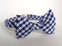 Blue and White Gingham Bowtie Self Tie Bow Tie Plaid Checks
