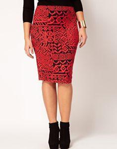 Enlarge ASOS CURVE Pencil Skirt In Aztec Print. no se que me gusta mas si el color o el print en general!
