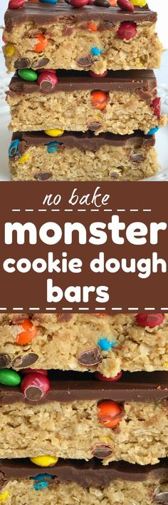 All your favorites about monster cookies but in no-bake, egg free monster cookie dough bars! Peanut butter, oats, chocolate, and m&m's. These can be made in just minutes and are a fun treat or dessert(Baking Treats For Kids) Desserts Keto, Mini Desserts, Cookie Desserts, No Bake Desserts, Dessert Recipes, Plated Desserts, Camping Desserts, Bar Recipes, Frozen Desserts