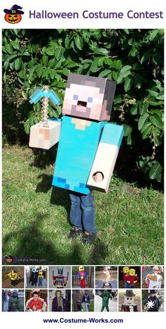 Steve from Minecraft - tons of homemade costume ideas for boys!
