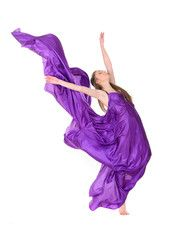 girl dancer in flying dress