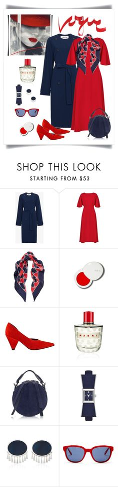 """""""Acne Studios Anghelica Blue Trench Coat Look"""" by romaboots-1 ❤ liked on Polyvore featuring Acne Studios, Jaeger, Gucci, lilah b., Sigerson Morrison, Marni, Carven, Kate Spade, Silhouette and Kenzo"""