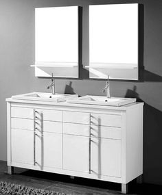 Adornus Turin 60 inch White Double Sink Bathroom Vanity, Free standing all wood cabinet, available in a smooth walnut veneer and white high gloss enamel finish, 3 drawers finished in light grey interior. 60 Vanity, Vanity Set With Mirror, White Vanity, Discount Bathroom Vanities, Walnut Veneer, Gray Interior, Turin, Wood Cabinets, Modern Bathroom