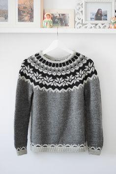 Afmæli - Anniversary Sweater pattern by Védís Jónsdóttir Fair Isle Knitting Patterns, Sweater Knitting Patterns, Icelandic Sweaters, Cable Knit Sweaters, Jumpers For Women, Sweaters For Women, Knit Slippers Free Pattern, Nordic Sweater, Knit Fashion