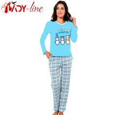 Poze Pijama Dama Bumbac Interlock, 'Love Winter' Blue, Fawn