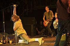 Love the cache of beverages by the monitors - Pearl Jam 20th Flickr - Photo Sharing!