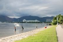 Fishing with pursenets is a common site along the waterfront in Cairns, Queensland, Australia.