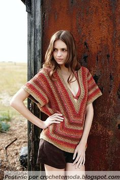Crochetemoda: Crochet - Striped Blouse
