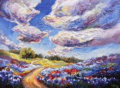 "Landscape Artists International: ""Blue Tomorrow"" textured bluebonnet painting by Niki Gulley"