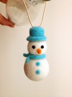 Items similar to Christmas Ornaments Needle Felted Snowman Ornament - Christmas Tree Ornament on Etsy Wool Needle Felting, Needle Felted Animals, Wet Felting, Felt Animals, Felt Christmas Decorations, Felt Christmas Ornaments, Christmas Crafts, Homemade Christmas, Christmas Snowman