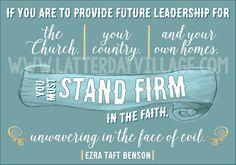 "Relief Society teaching helps for Ezra Taft Benson Chapter 19: ""Leadership"" - www.LatterDayVillage.com"