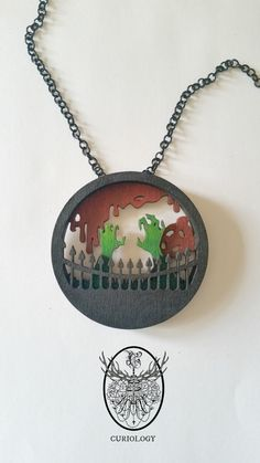 Outbreak Layered Silhouette necklace 2 sizes by CuriologyJewellery