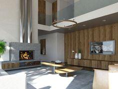 Il soggiorno a doppia altezza ospita il camino in pietra - Massimo Rinaldo architetto