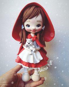 Porcelain Clay, Cold Porcelain, Polymer Clay Dolls, Polymer Clay Crafts, Pasta Flexible, Sugar Art, Gothic Dolls, Kawaii, Christmas Art