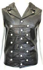 Mens gents black steam punk rock gothique en dentelle corset gilet 100% cuir gilet