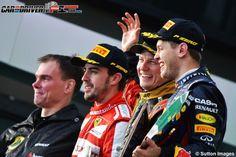 Kimi Raikkonen, Fernando Alonso and Sebastian Vettel. Australian podium.