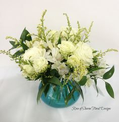 Rose of Sharon Floral Designs, White Rose and Alstroemeria Lily Arrangement