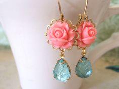 vintage glass leaf charm earrings, SUMMER GARDEN, coral pink resin flower cab earrings with vintageblue leaf glass jewels