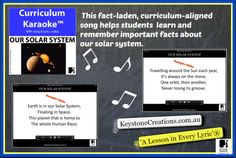 A fact-laden, curriculum-aligned song that helps students learn and remember important facts about our solar system (Middle & Upper Primary). MP4 song & lyrics video ~ students READ, SING & LEARN along as the curriculum-aligned song plays and lyrics display on your classroom whiteboard and other technological devices! Details &Downloadable: http://www.teacherspayteachers.com/Product/OUR-SOLAR-SYSTEM-Curriculum-Karaoke-MP4-Song-Lyrics-for-Whiteboard-3376692