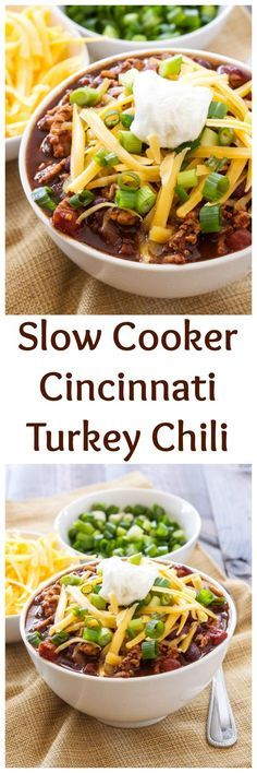 Slow Cooker Cincinnati Turkey Chili | My absolute favorite chili! Easy ...