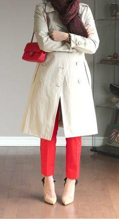 Gap red slim crop pants + bow-back pointy pumps