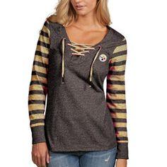 377995654 Pittsburgh Steelers Antigua Women s Rumble Lace-Up Sweatshirt - Black