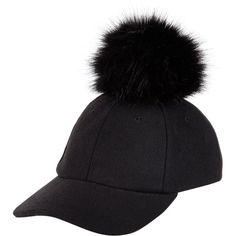New Look Black Faux Fur Pom Pom Baseball Cap ($17) ❤ liked on Polyvore featuring accessories, hats, black, fake fur hats, baseball caps hats, pom pom hat, baseball hats and ball cap