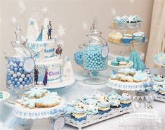 Chloe and Mason's Disney Frozen Birthday Party - A&K Lolly Buffet Frozen Party Table, Frozen Party Decorations, Cake Table Decorations, Birthday Balloon Decorations, Lolly Buffet, Dessert Buffet, Dessert Table Birthday, Disney Frozen Birthday, Frozen Cake
