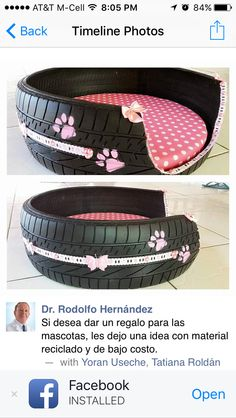 17 coole DIY-Projekte, die aus alten Reifen tolle Sachen für Ihren Innenhof machen – Dekoration De 17 cool DIY projects that turn old tires into great things for your courtyard … Tire Craft, Used Tires, Tyres Recycle, Diy Recycle, Reduce Reuse Recycle, Diy Dog Bed, Doggie Beds, Bed For Dogs, Pet Beds Diy