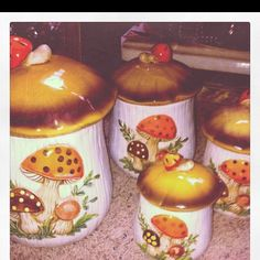mushroom canisters (from Sears)  I was the proud owner of these as a young bride! and matching curtain too lol