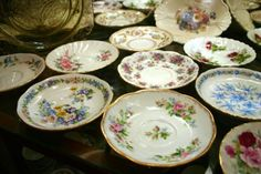 Assorted china serving plates