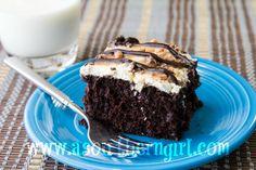 double fudge caramel poke cake