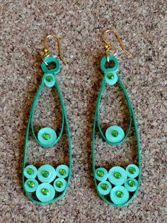 Paper Quilled Earrings, Filagree, Green Earrings, Paper Quilled Jewelry, Jewelry, Earrings